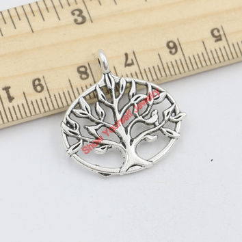 15pcs Tibetan Silver Plated Tree of Life World Charms Pendants for Jewelry Making DIY Handmade Craft 27x27mm