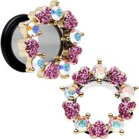 "1/2"" Aurora and Pink Gem Heart Wreath Single Flare Tunnel Plug Set"