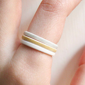 Ceramic Rings  Triple Stack Porcelain Rings by clacontemporary