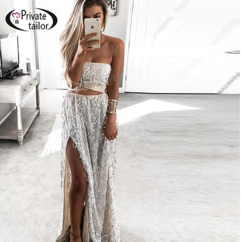 2016 New Fashion Charming Sexy Women Lady Long Skirts Open Side Split Skirt Long Maxi Skirt Khaki Sequin 2 pieces Back Tied Bow