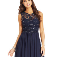 Speechelss Juniors' Sequin Lace Dress