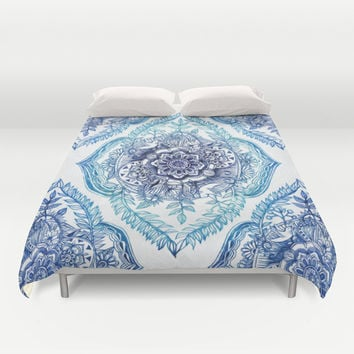 Indian Ink - in Blues Duvet Cover by Micklyn
