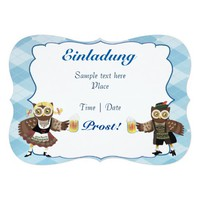 Oktoberfest owls 5x7 paper invitation card