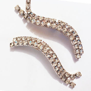 Rhinestone Shoe Clips, Wedding Bridal Prom Accessories, Curvy Wave Double Row Rhinestones, Formal Attire Jewelry