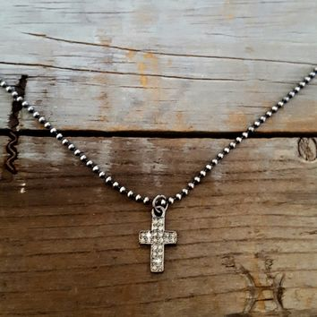 SALE - FAITH Tiny Diamond Cross Necklace, Sterling Silver Cross, Pave Diamond Cross Pendant Charm, Goth, Rock and Roll, Sterling Bead Chain