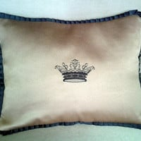 crown embroidered pillow cover with pleated grosgrain ribbon ending throw pillow, accent pillow, toss pillow.