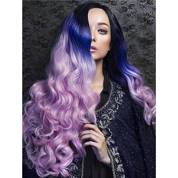 Long Black Root To Purple Pink Ombre Wave Synthetic Lace Front Wig
