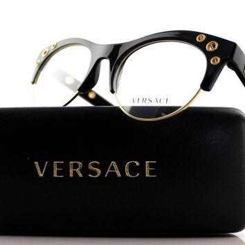 New Authentic VERSACE Shiny Black Gold Medusa EyeGlasses Frame VE 3232 GB1