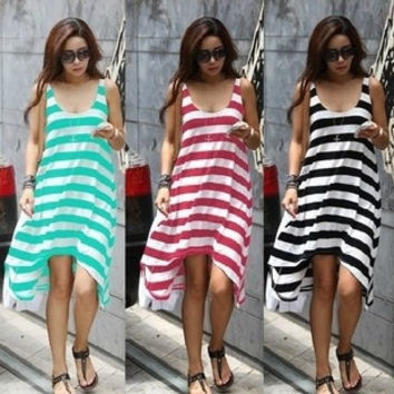 2014 Direct Selling Rushed  Natural Batik Party Dresses Striped Beach Resort Dress Bikini Blouse Casual 3 Colors one size = 1754094212