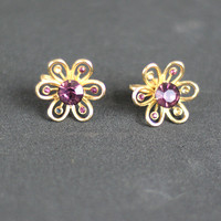 Rhinestone Lavender Flowers Vintage 1950s Earrings