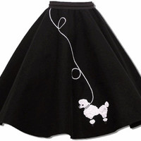 50's BLACK w/White Adult Poodle Skirt S/M/L