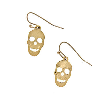 Gold Skull Dangle Earrings