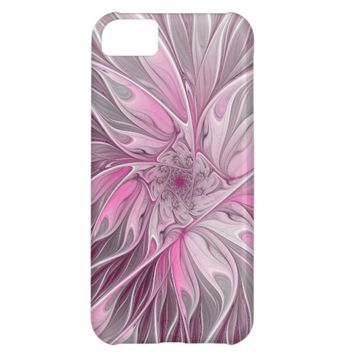 Fractal Pink Flower Dream, Floral Fantasy Pattern Case For iPhone 5C