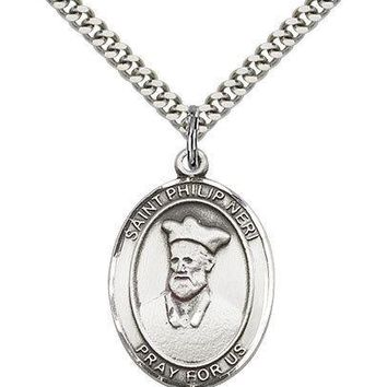 "Saint Philip Neri Medal For Men - .925 Sterling Silver Necklace On 24"" Chain ... 617759155495"