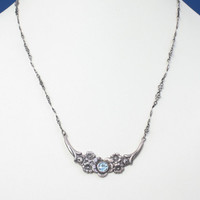 Sterling Blue Gemstone Floral Design Necklace Hallmarked Birmingham England Vintage