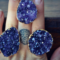 LUX DIVINE /// Amethyst Cluster Druzy /// Stackable Gemstone Gold Electroformed Ring