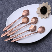 New Rose Gold 5pcs Set Tableware Flower Shape Sugar Stainless Steel Tea Coffee Spoon Teaspoons Ice Cream Flatware Kitchen Tool