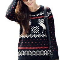 CHRISTMAS Sweater / Cardigan, with Various Lovely Patterns of Reindeer / Snowman / Snowflakes / Tree (L, Deer&Snowflake-Black)