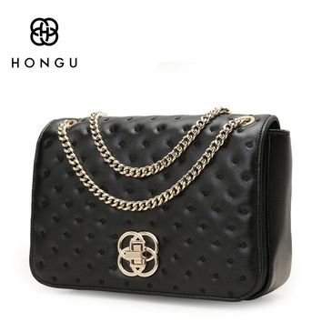 HONGU Fashion Chain Crossbody Real Cow Leather Bags Women Handbags Shoulder Bag Polo Premium Gold Plated Metal Atmosphere Purses
