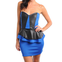 Strapless Faux Leather Peplum Mini Dress in Blue & Black
