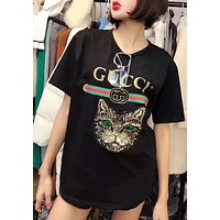 GUCCI Popular Women Casual Loose Sequin Cat Embroidery Pullover Top T-Shirt Blouse Black