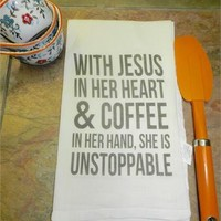 Christian Kitchen Towel Jesus Coffee Inspirational Flour Sack Tea Towel