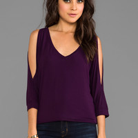 Michael Stars Cold Shoulder V Neck Tee in Monarch from REVOLVEclothing.com
