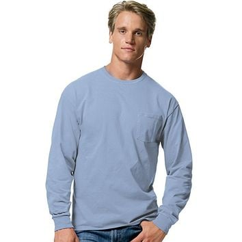 Tagless Long Sleeve T-Shirt with a Pocket - 5596