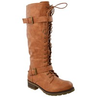Lace Up Knee High Riding  Boots  -Tan