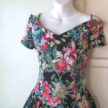 Fab Vintage Off-Shoulder Drop-waist Dress; Black/Teal/Red/Blue Retro Tropical Garden Print; Women's Medium '80s Girl Party Dress