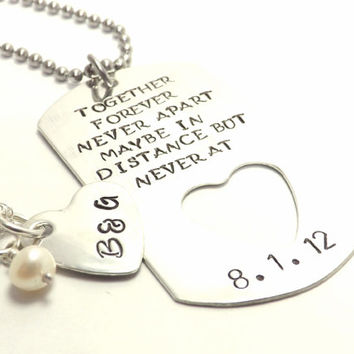 Personalized Sterling Dog Tag and Heart Necklace Set for Military Couples, Together Forever Never Apart by Miss Ashley Jewelry