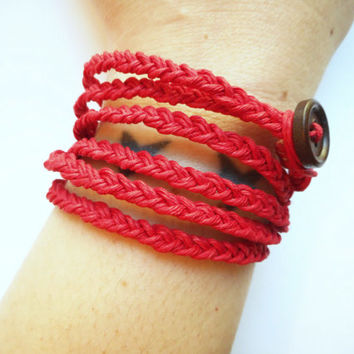 Red Braided Hemp Wrap Bracelet, ready to ship.
