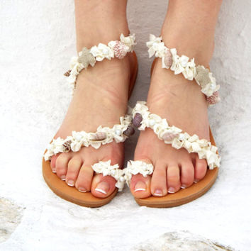 White Wedding Sandals, Shell Sandals, Beach Greek Sandal, barefoot sandal, Geniun leather shoes,  Summer shoes, Valentine's gift for women