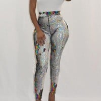 New Silver Patchwork Sequin Elastic Waist High Waisted Bodycon Sparkly Clubwear Long Pants