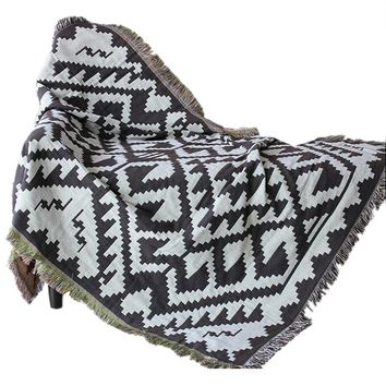 Double-sided Decorative Throw Blanket,  Cotton Woven Couch Throw Blanket