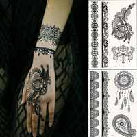Generic Black Lace Temporary Tattoos for Adventurous Women, Teens & Girls - Henna Tattoos Sticker W306-311(Pack of 2 Sheets)