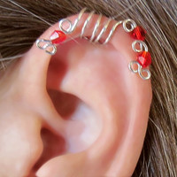 "No Piercing ""Red Peacock"" Ear Cuff for Upper Ear 1 Cuff COLOR CHOICES"