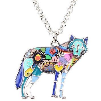 Statement Zinc Alloy Wild Animal Wolf Choker Necklace Chain Pendant Collar Fashion New Enamel Jewelry For Women Girl