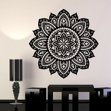 Vinyl Wall Decal Yoga Studio Mandala Lotus Flower Home Decor Stickers Unique Gift (706ig)
