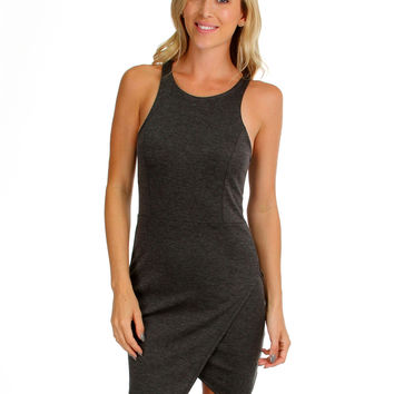 CHARCOAL ROCKSTEADY AND READY BODYCON DRESS