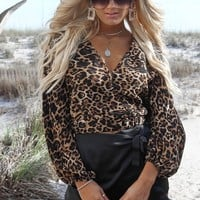 Hung Up Leopard Wrap V Neck Top