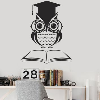 Vinyl Wall Decal Owl Book School Classroom Science Art Decor Stickers Mural  Unique Gift (ig5169