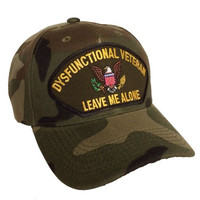 "Dysfunctional Veteran Hat Camo Ball Cap ""Leave Me Alone"""