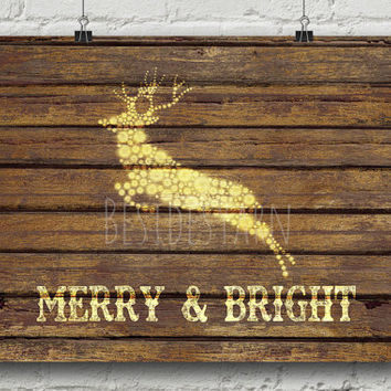 Christmas Printable Art, Merry and Bright, Christmas Decoration, Deer Art, Deer Print, Holiday Print, Rustic Christmas Deer Decor, Reindeer