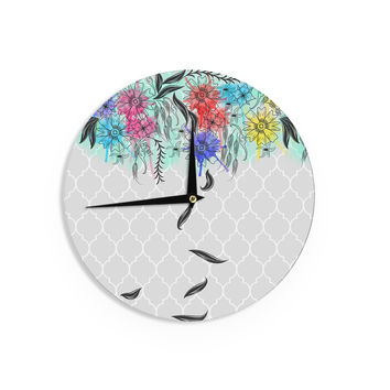 "Famenxt ""Watercolor Spring"" Gray Floral Wall Clock"
