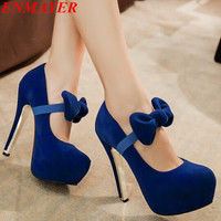 ENMAYER Mary Janes new Round Toe Thin Heels High SHOES Flock bow Spring  shoes Wedding fashion sexy platform pumps size34-42