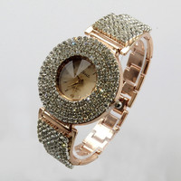 Luxury Elegant Fully-jewelled Delicate Analog Lady Wowen quartz Wrist Watch Gift Rose Gold