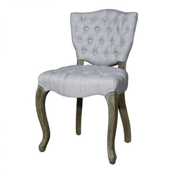 Grey Upholstered Tufted Linen Dining Chairs (Set of 2)