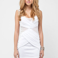 Pinpoint Mesh Dress in White :: tobi