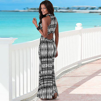 Dress New Sexy Women Summer BOHO Long Maxi Black Party Chiffon Long Beach Slim Skinny Dresses 2016 Women Clothing Summer